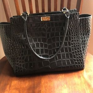 Kate Spade Croc Embossed Large Black Tote